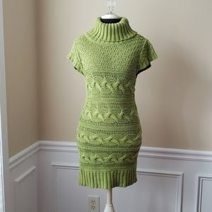 Kensie Pretty Cable Knit Turtle neck Dress Green M